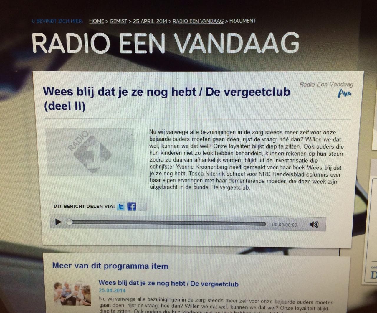 EenVandaag Tosca Niterink - De Vergeetclub